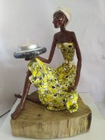 Seated African lady tea light candle holder