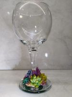 Wine glass with succulent base